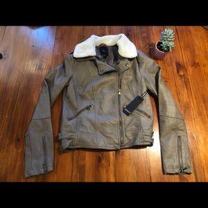 Forever 21 Vegan Leather Aviator Jacket